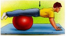 تمرین پایدار کننده ی کمر با استفاده از توپ سوئیسی